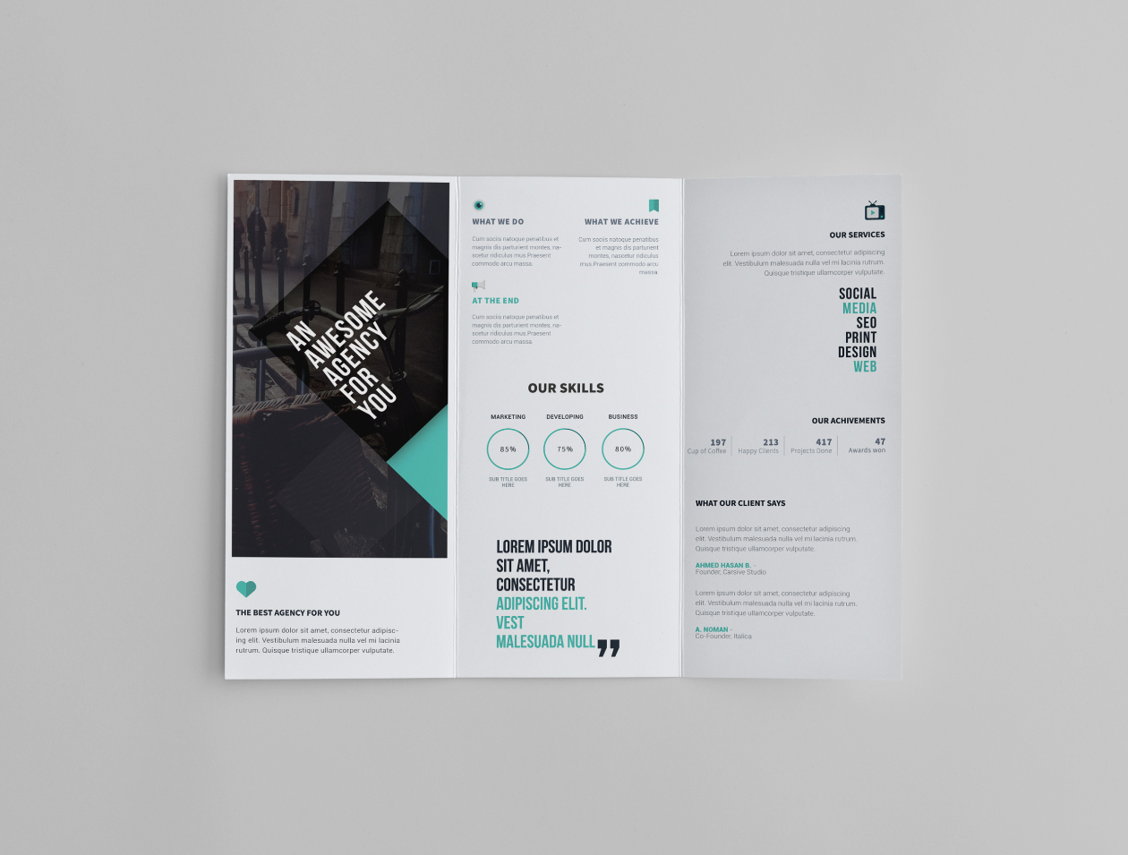 69 premium and free psd tri fold bi fold brochures for Brochure photoshop template