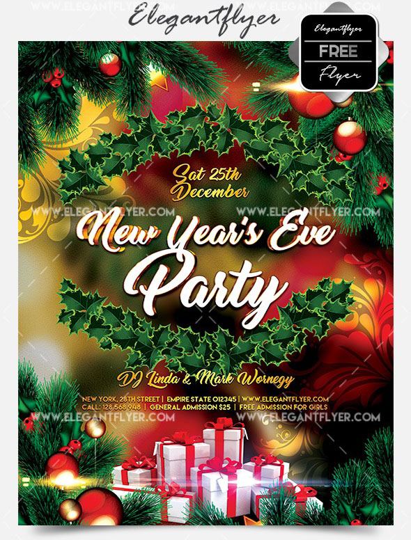 new years eve party free flyer psd template facebook cover