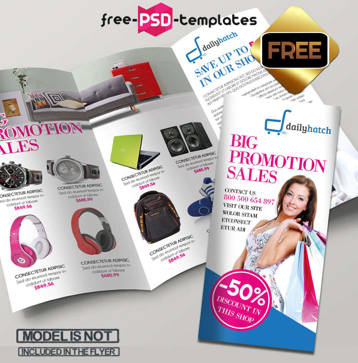 Free PSD TriFold BiFold Brochures Templates For Promoting - Sales brochure template