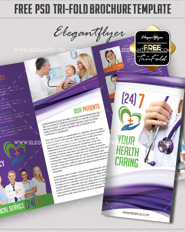 Free PSD TriFold BiFold Brochures Templates For Promoting - Free medical brochure templates