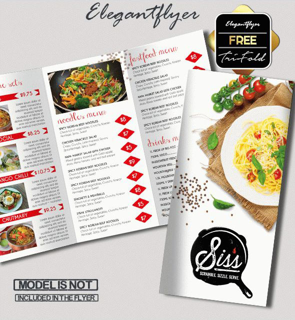 Free PSD TriFold BiFold Brochures Templates For Promoting - Food brochure templates