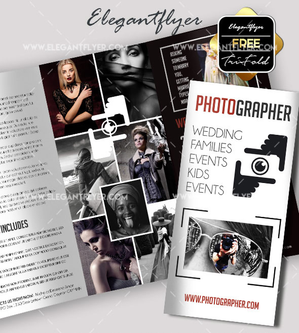 photographer free psd tri fold brochure template