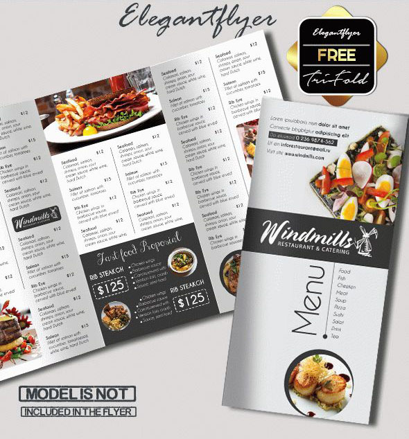 Free PSD TriFold BiFold Brochures Templates For Promoting - Menu brochure template
