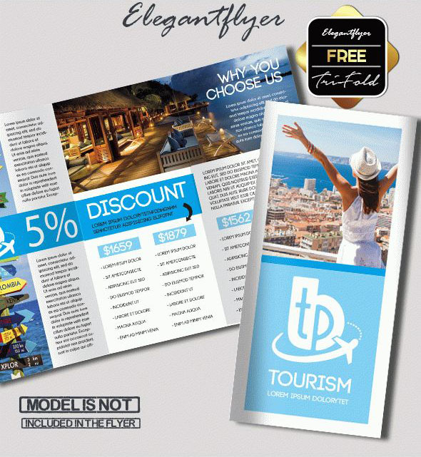 Free PSD TriFold BiFold Brochures Templates For Promoting - Tourism flyer template