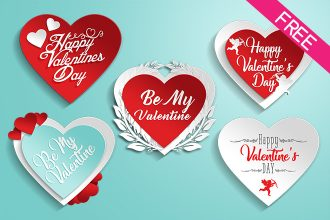 FREE 5 Valentine's Day Stickers IN PSD