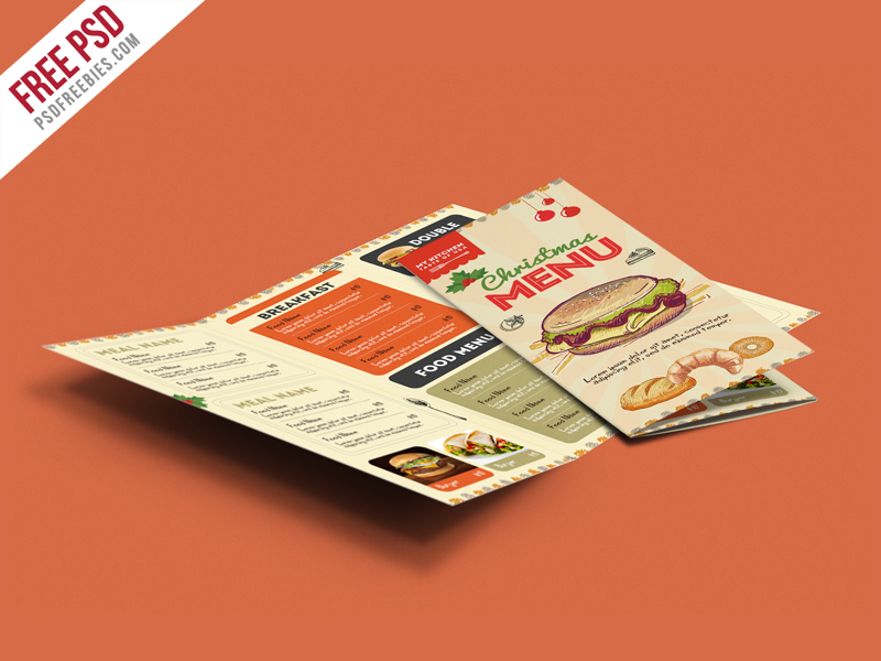 Free PSD TriFold BiFold Brochures Templates For Promoting - Menu brochure template free
