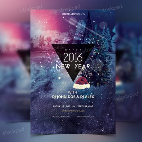 happy new year 2016 freebie psd flyer