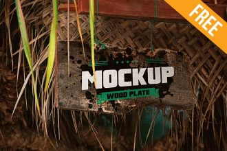 Wood Plate – Free PSD Mockup