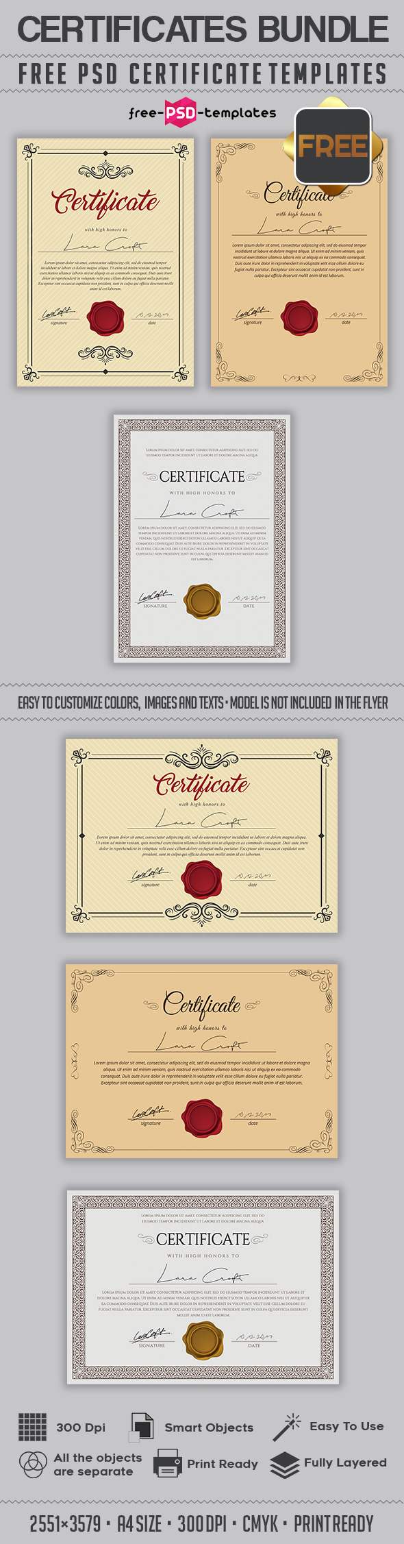 Free psd multipurpose certificates bundle free psd templates the certificates layered and well organized you are free to download this psd multipurpose certificates bundle template and modify it the way you wish 1betcityfo Choice Image
