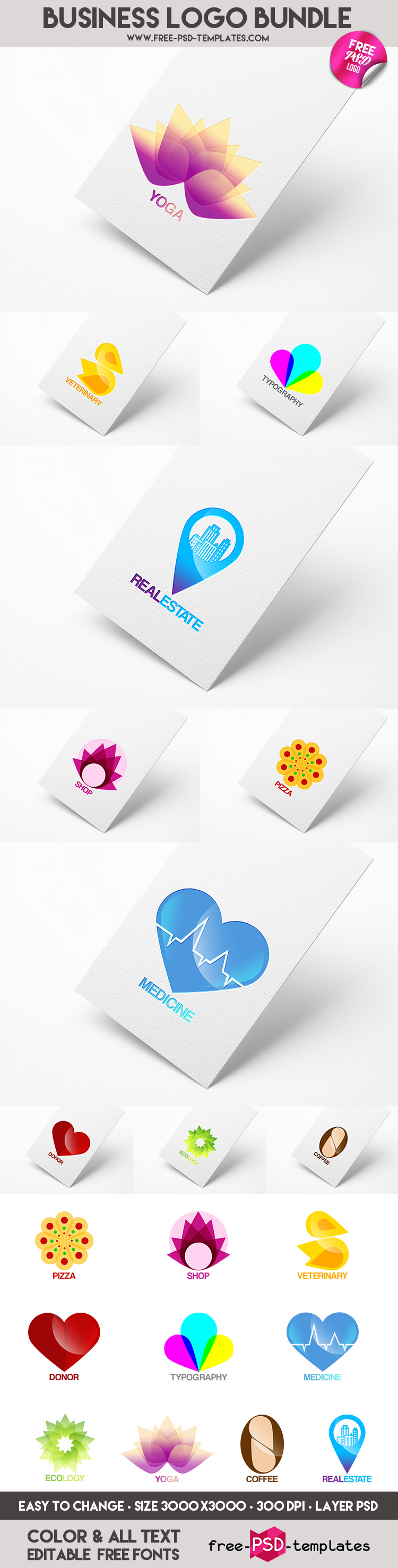 10 business logo bundle in psd psd templates it was created exclusively for our website the template is fully layered and well organized you are to this psd template and modify it the