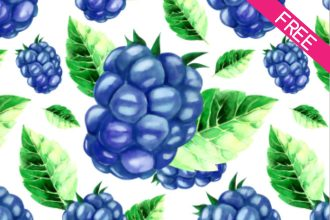 FREE BlackBerry Watercolor Seamless Pattern IN PSD