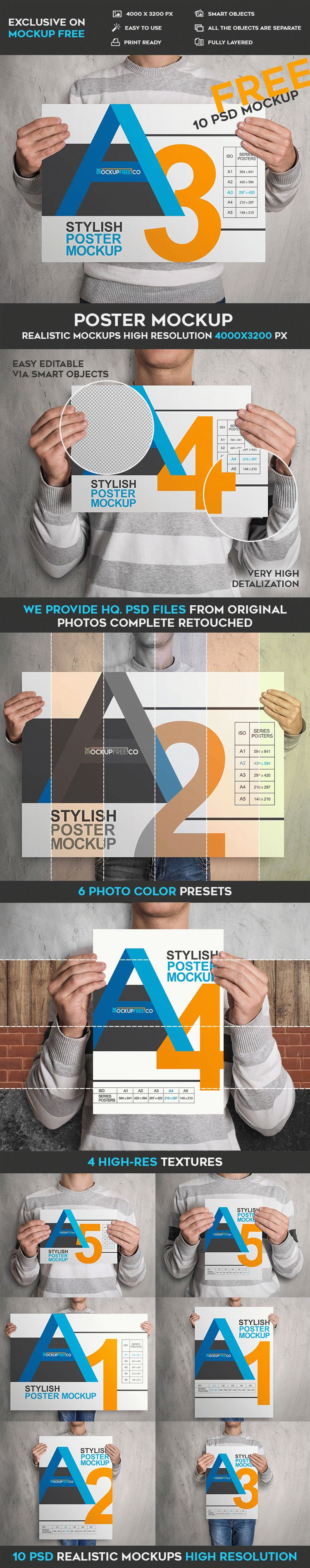 6 poster design photo mockups - It Was Created Exclusively For Our Website The Mock Up Is Fully Layered And Well Organized You Are Free To Download This Psd Mockup Template And Modify It