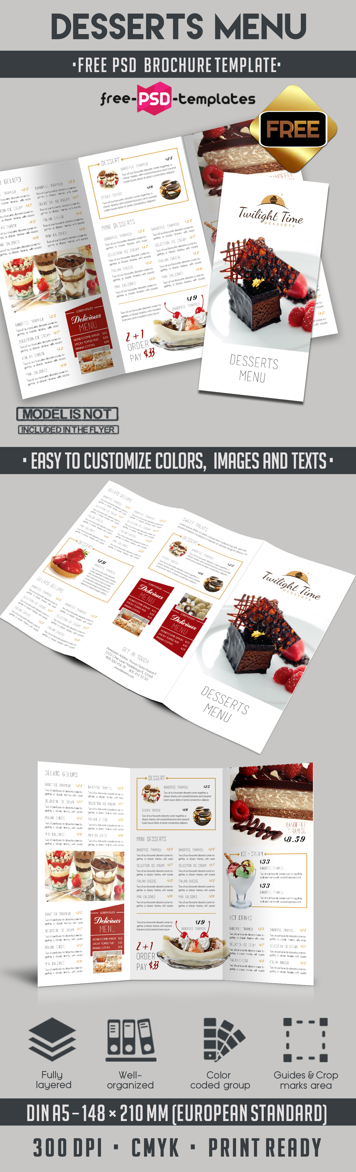 Desserts menu tri fold brochure template free psd templates for Free psd brochure template