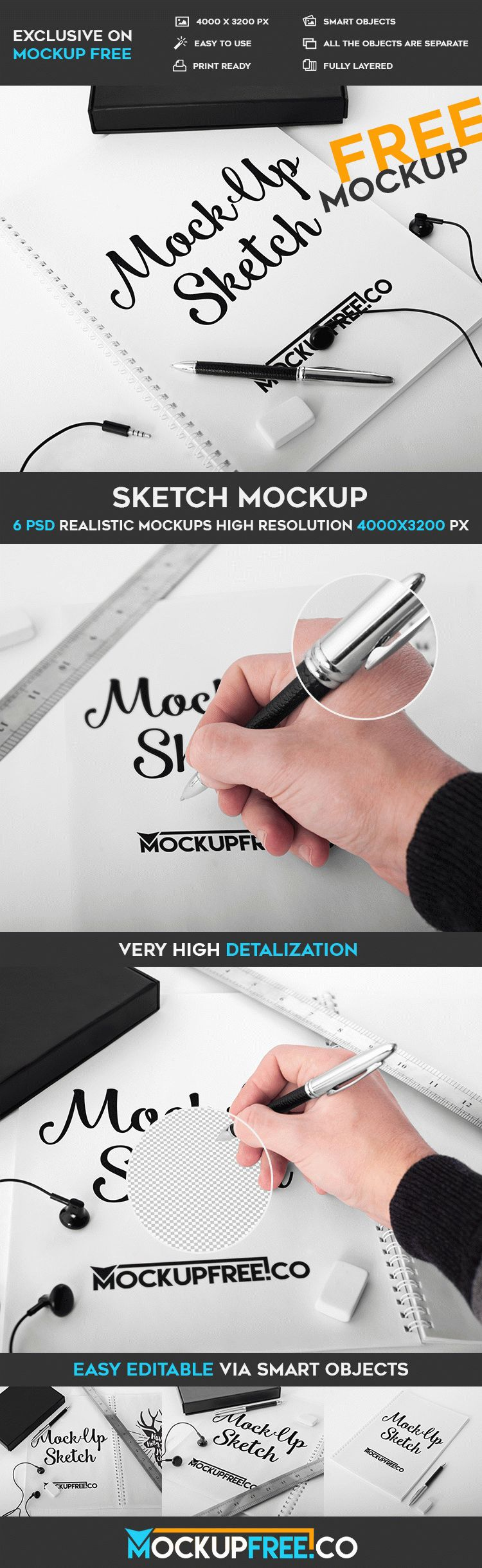 Sketch – 6 Free PSD Mockups | Free PSD Templates