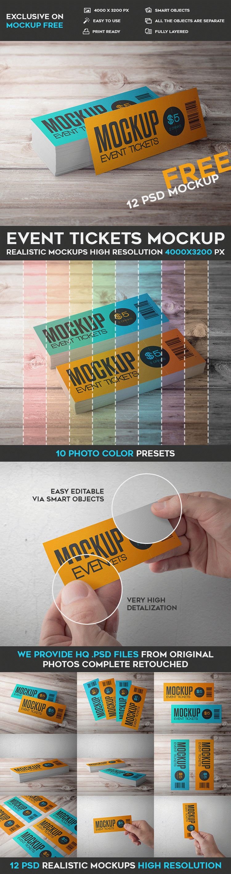 Event Tickets 12 Free PSD Mockups – How to Make Tickets for an Event Free