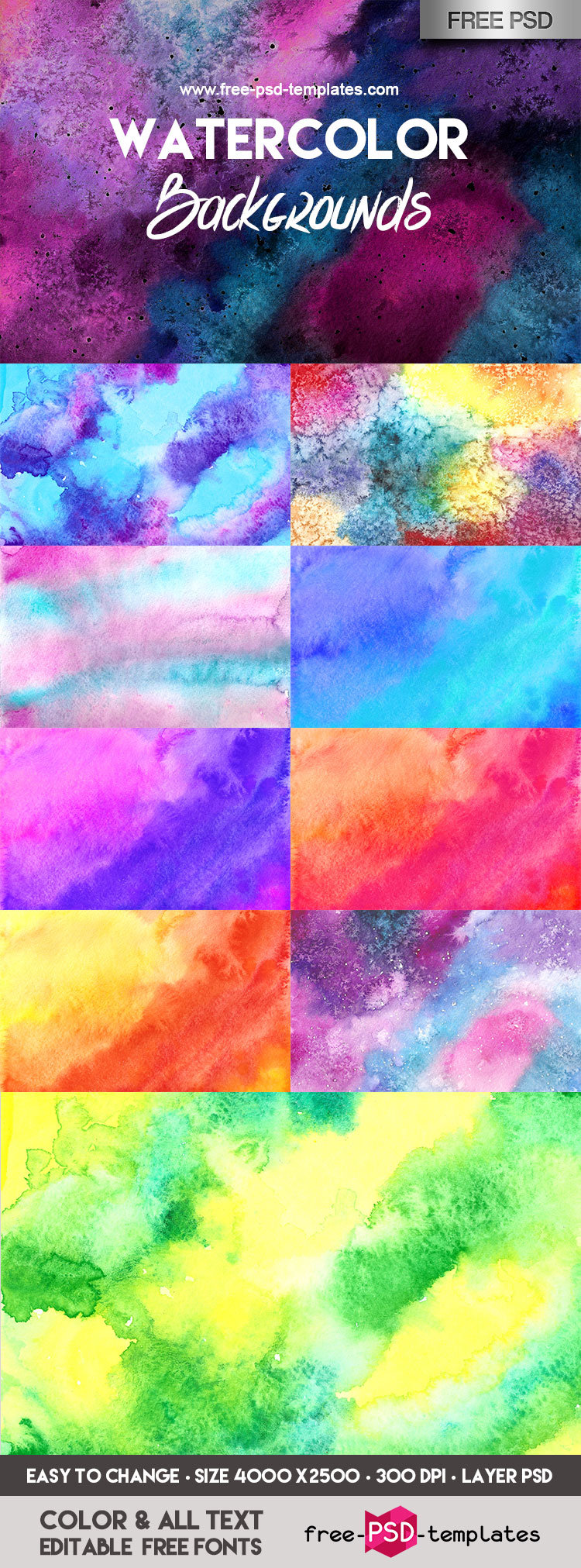 FREE Watercolor Backgrounds Bundle IN PSD | Free PSD Templates