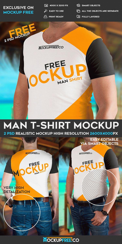 Man T-Shirt – 2 Free PSD Mockups | Free PSD Templates