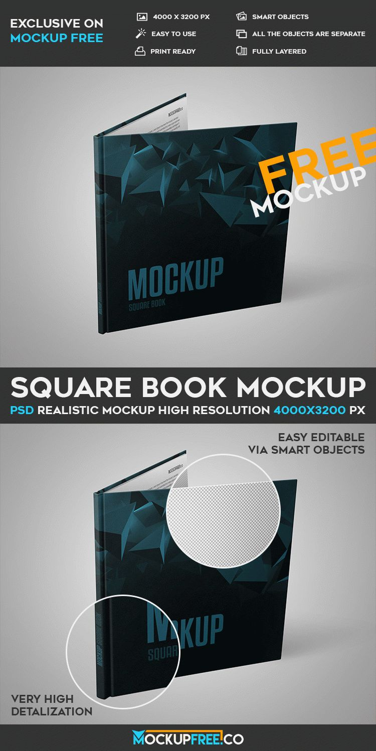 Square book free psd mockup free psd templates the mock up is fully layered and well organized you are free to download this psd mockup template and modify it the way you wish pronofoot35fo Choice Image