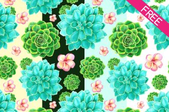 FREE 4 Succulents Watercolor Seamless Pattern IN PSD