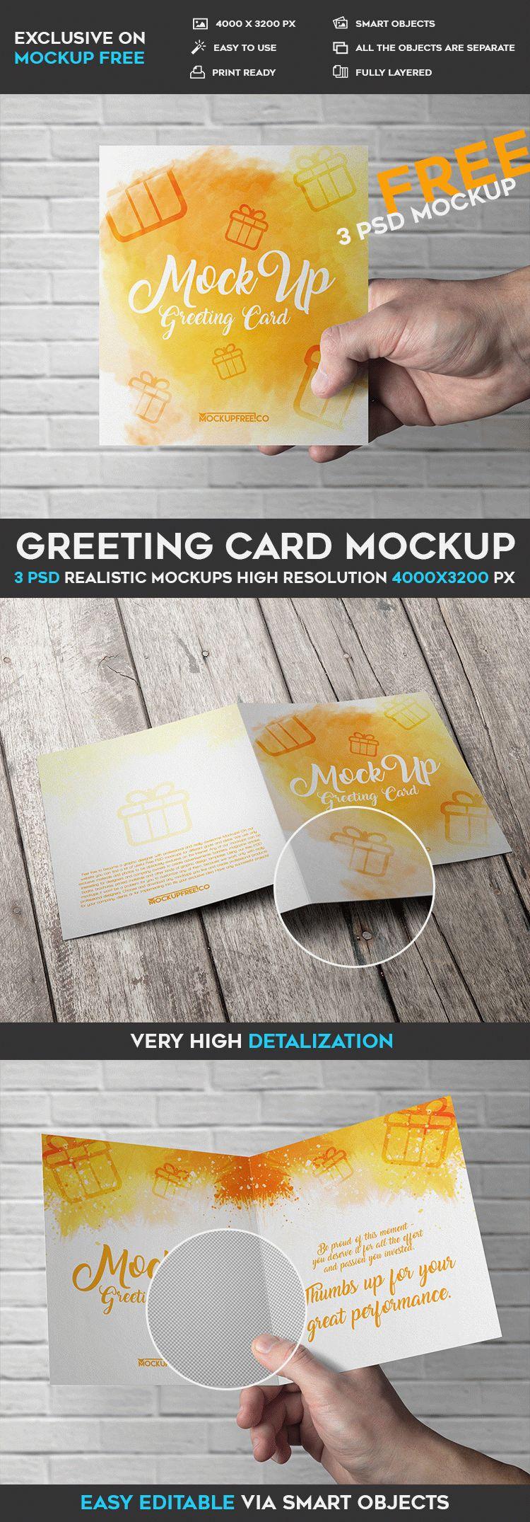 Greeting Card 3 Free Psd Mockups Free Psd Templates