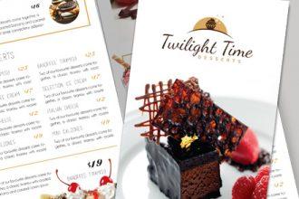Desserts Menu Tri-Fold Brochure Template