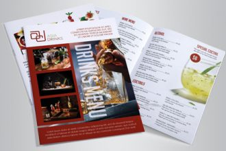 Drink Menu Bi-Fold psd Brochure
