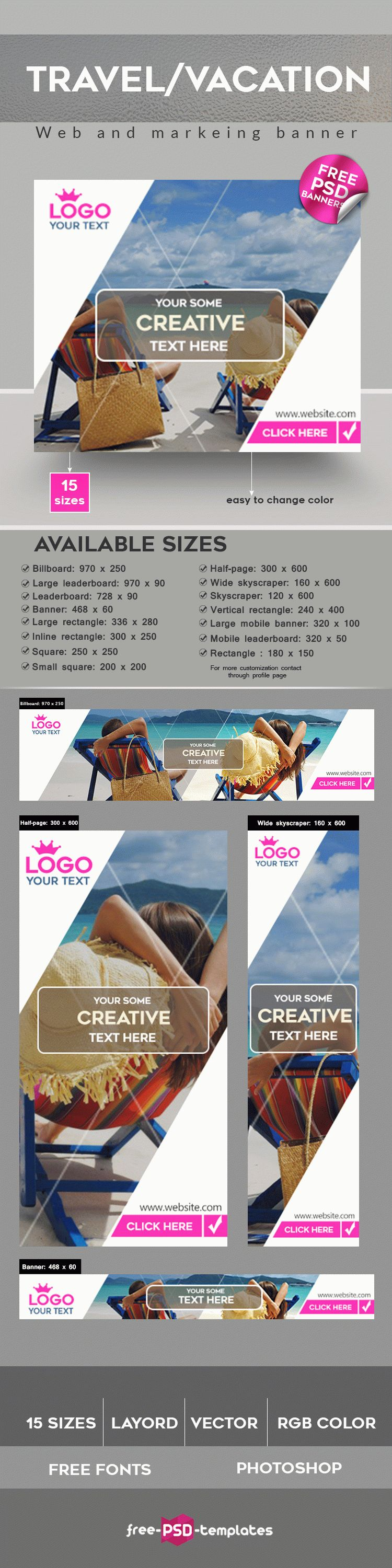 FREE Travel / Vacation Banner IN PSD   Free PSD Templates
