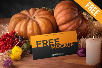 Postcard in Autumn Scenery – 3 Free PSD Mockups