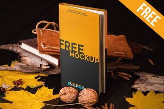Notebook in Autumn Scenery – 3 Free PSD Mockups