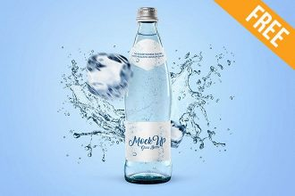 Glass Bottle for Water – Free PSD Mockup