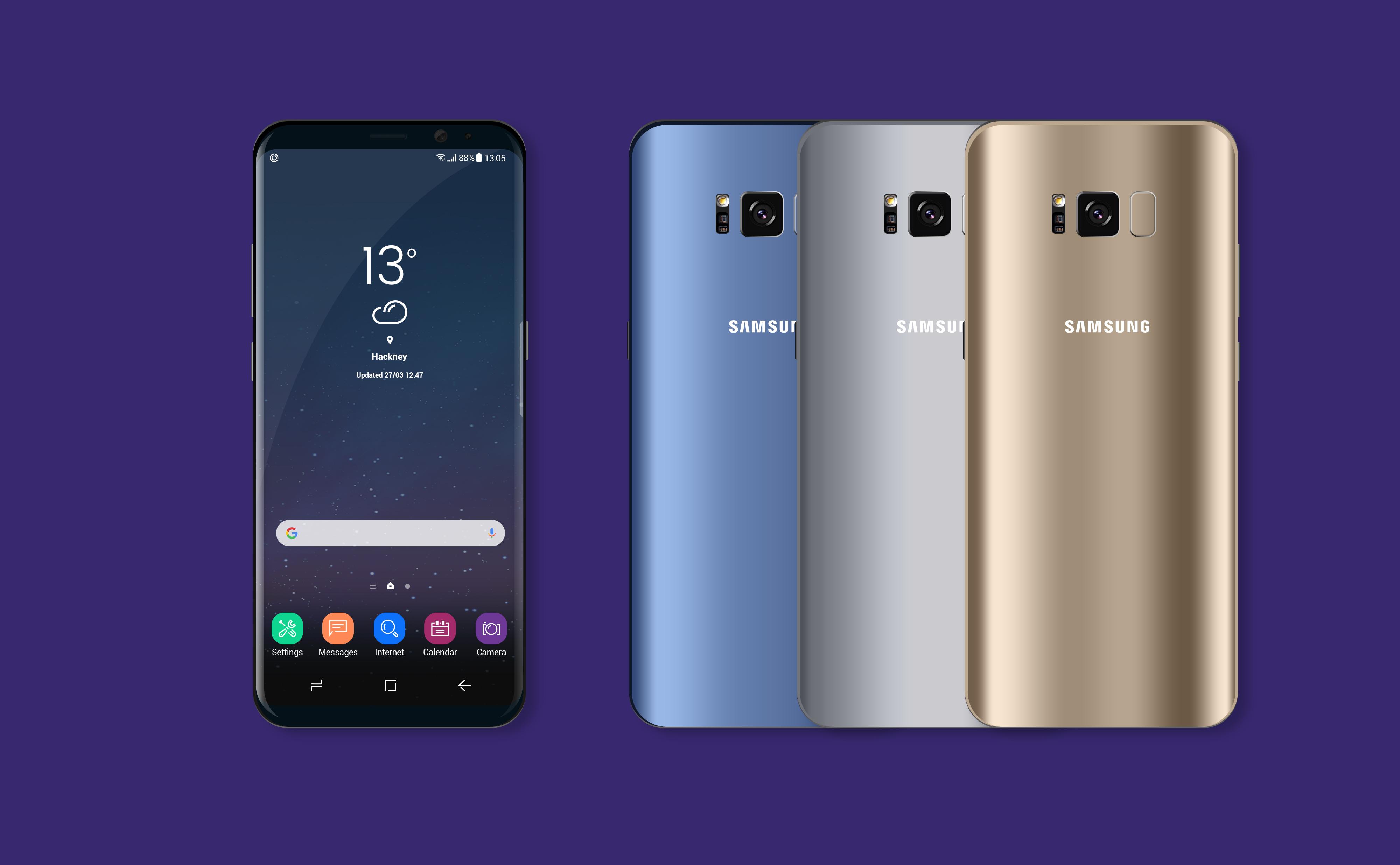 Samsung Galaxy S8 Landing Page Mockup PSD Free Download