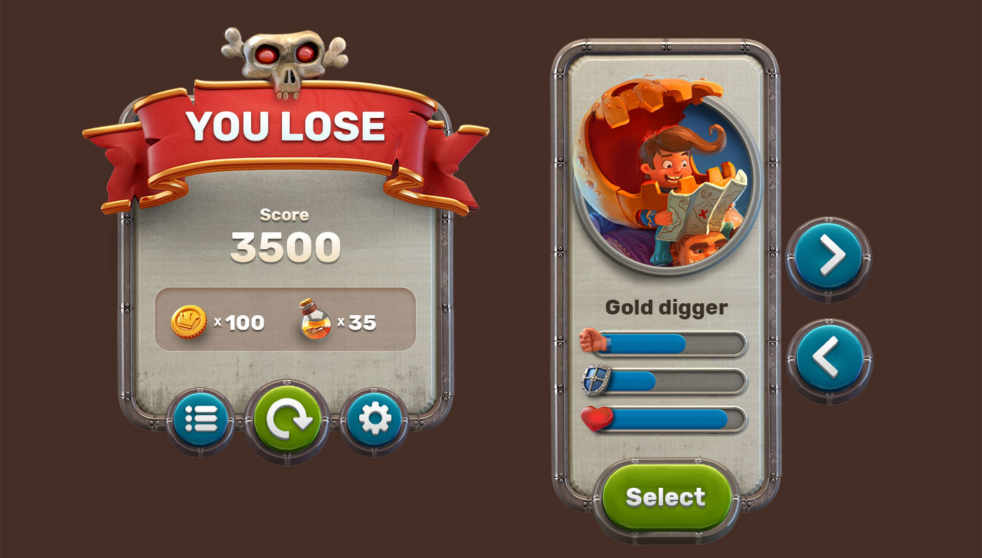 Game UI + Icons for free (PSD) | Free PSD Templates