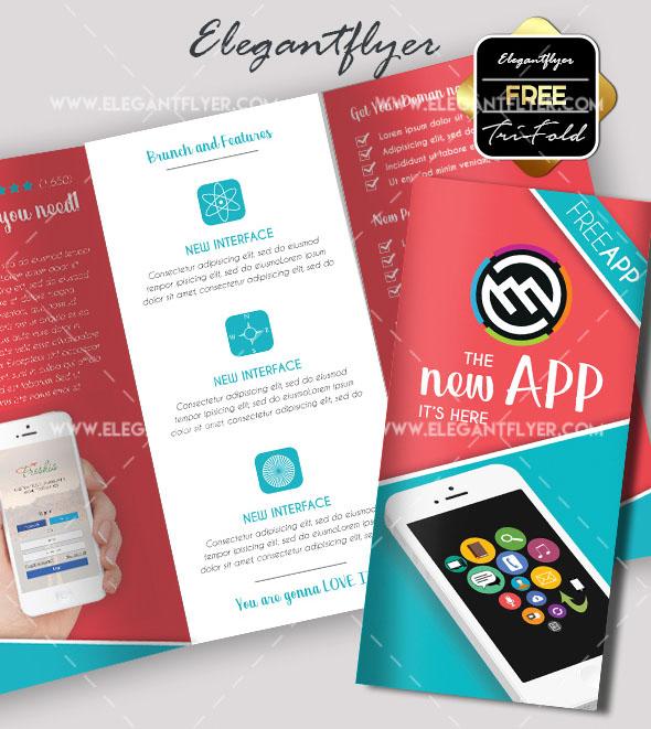 mobile application free psd tri fold brochure template
