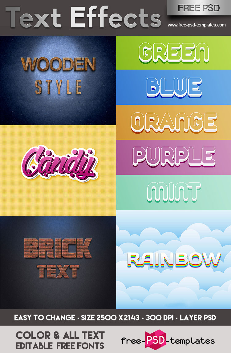 FREE Text Effects IN PSD | Free PSD Templates
