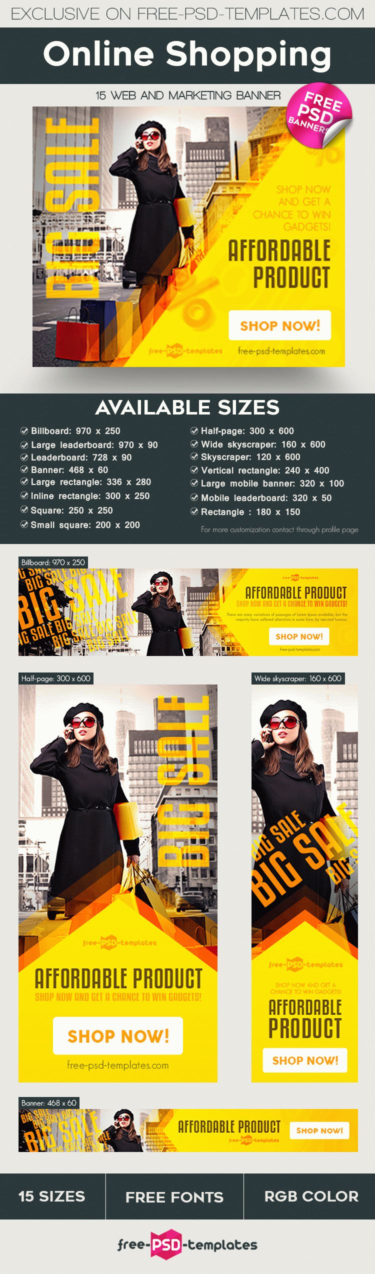 15 Free Online Shopping Banner in PSD | Free PSD Templates
