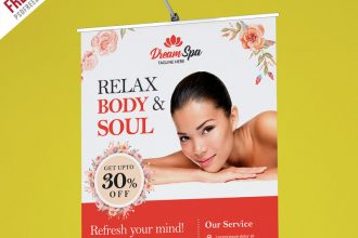 Free PSD: Beauty and Spa Roll-up Banner Template PSD