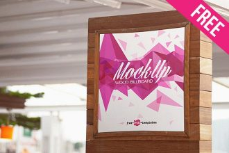 Free Wood Outdoor Billboard Mockup (PSD)