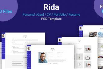 Rida – Free vCard, CV, Portfolio, Resume PSD template