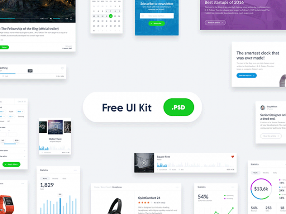 20 + Free PSD UI Kits + Elements for creating the best