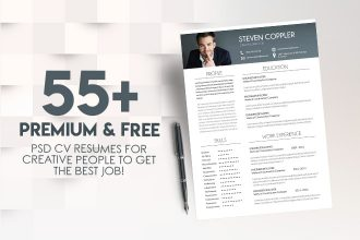 55+PREMIUM & FREE PSD CV RESUMES FOR CREATIVE PEOPLE TO GET THE BEST JOB!