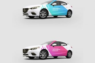 Free Hatchback Car Mockup PSD