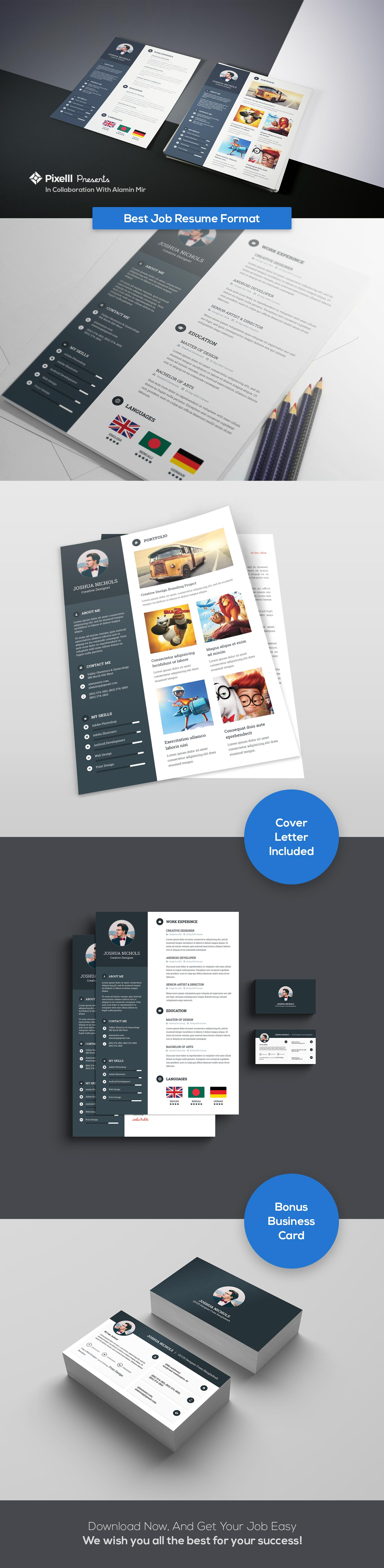best job resume format with business card