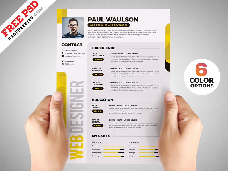 Designer Resume Template PSD Set