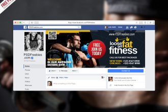 Free Gym Fitness Facebook Fanpage Cover Template PSD