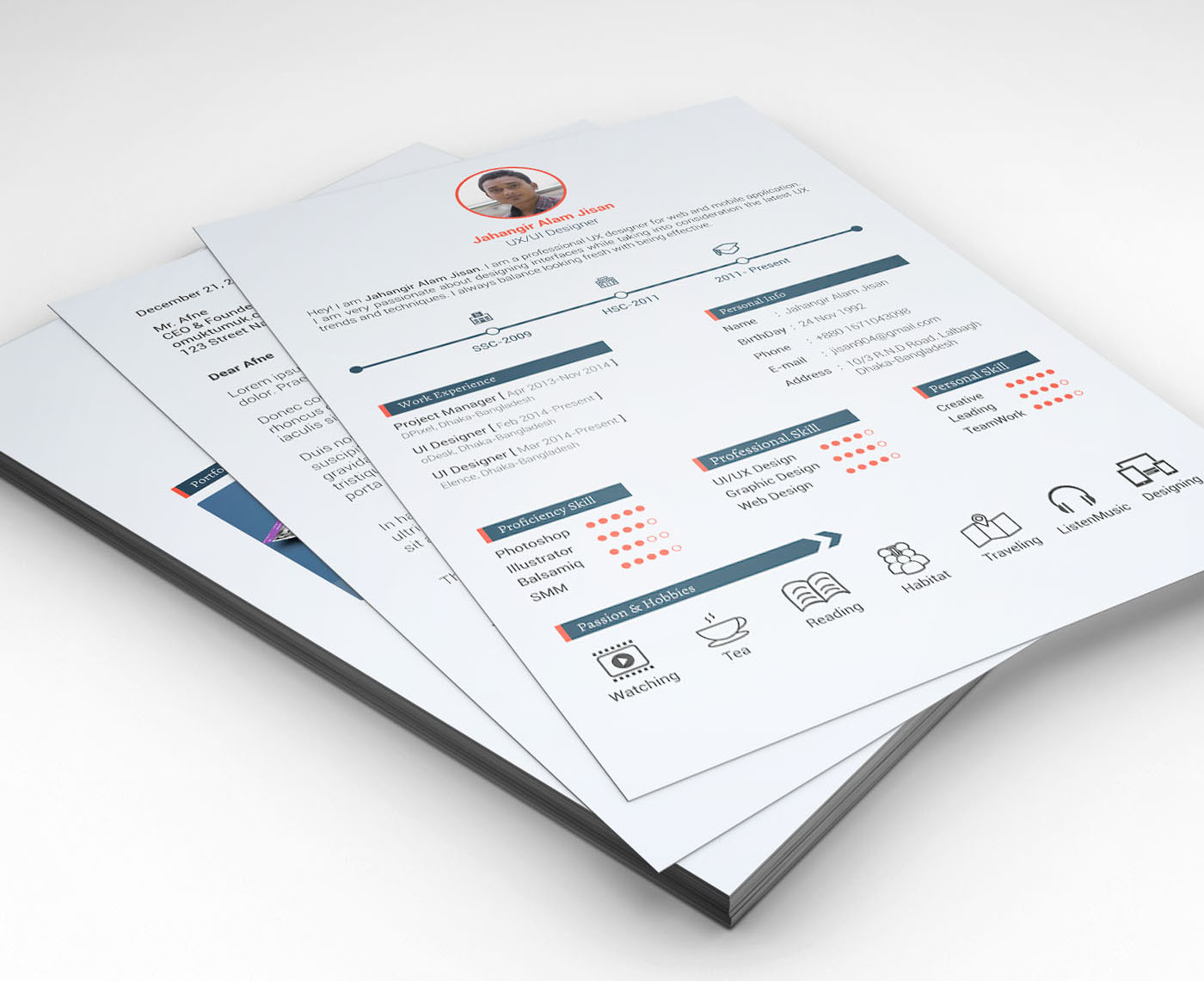 Free Psd Cv Resumes For Creative People To Get The Best Job
