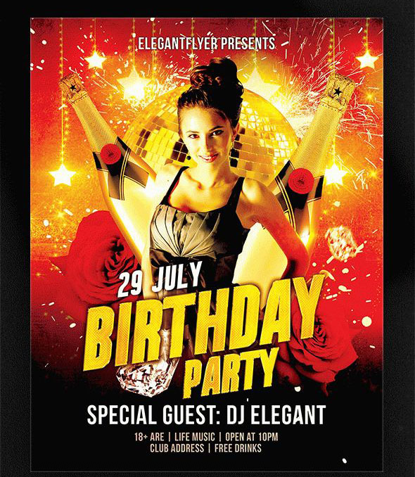Birthday Party Free Flyer Psd Template Facebook Cover