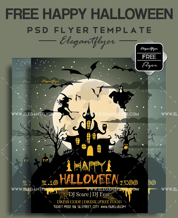 photo relating to Free Printable Halloween Flyer Templates titled 60+ Quality Free of charge PSD HALLOWEEN FLYER TEMPLATES! No cost PSD