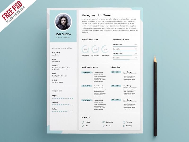 This Clean Resume CV Template PSD Template Is Perfect For Graphic Designer,  Photographers, Web Designer And Developers. Download