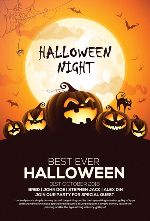 60 premium free psd halloween flyer templates free psd templates. Black Bedroom Furniture Sets. Home Design Ideas