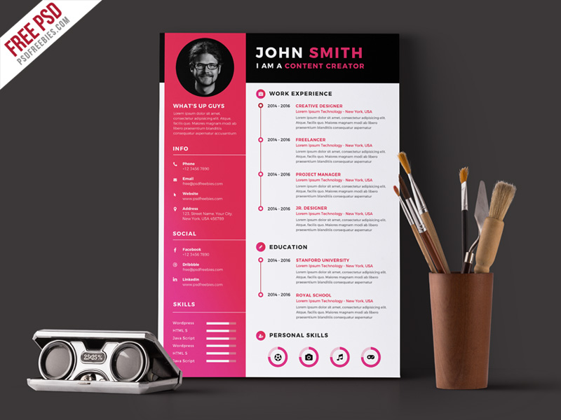 55 Premium Free Psd Cv Resumes For Creative People To Get The Best Job Free Psd Templates